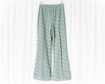 Vintage 60s Bellbottom Polyester Pants S M Mod Pattern Knit Green Blue Flared