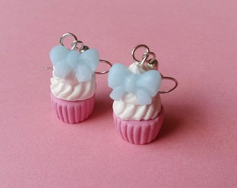 Pink Cupcake Earrings Polymer Clay Food ( blue cupcake earrings cupcake bow cute food jewelry kawaii miniature food mini food jewelry )