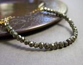 Pyrite Bracelet Gold Bracelet Gold Brown Neutral Gemstone Bracelet Single Strand Layering Bracelet