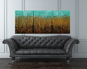 Vibrant 20x48 Abstract Marshland Gold, Bronze Mint Blue, Neutral Browns Textured Landscape by MyImaginationIsYours