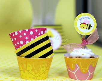 Bumble Bee Party - Cupcake Wrappers, Bumble Bee Birthday, Bumble Bee Baby Shower, 1st birthday, Baby Shower | Printable | INSTANT DOWNLOAD