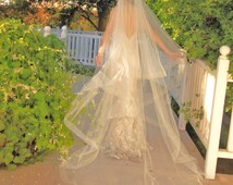 Cathedral Wedding Veil - Drop Veil  With Sheer Organza Ribbon Edge - Simple Wedding Veil - Champagne Veil- Naples