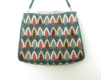 Art Deco Beaded Evening Bag Mid Century 1960s Iridescent Beading Formal Purse