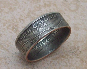 Made To Order CoPPeR NiCKLe HaNDMaDe Jewelry SOUTH CAROLINA STaTe QuaRTeR RiNG CHRiSTMaS GiFT or SToCKiNG STuFFeR You Pick the Size 5-10