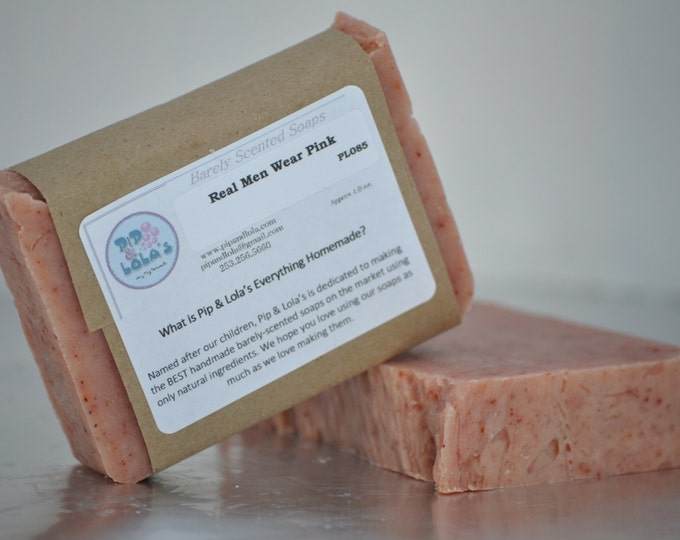 Real Men Wear Pink Soap (Balsam Peru and Cedar) --  All Natural Soap, Handmade Soap, Man-friendly Soap, Vegan Soap, Barely-Scented Soap
