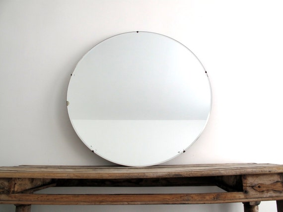 Large Round Gold Mirror: Vintage Large Round Wall Mirror 30 Frameless By