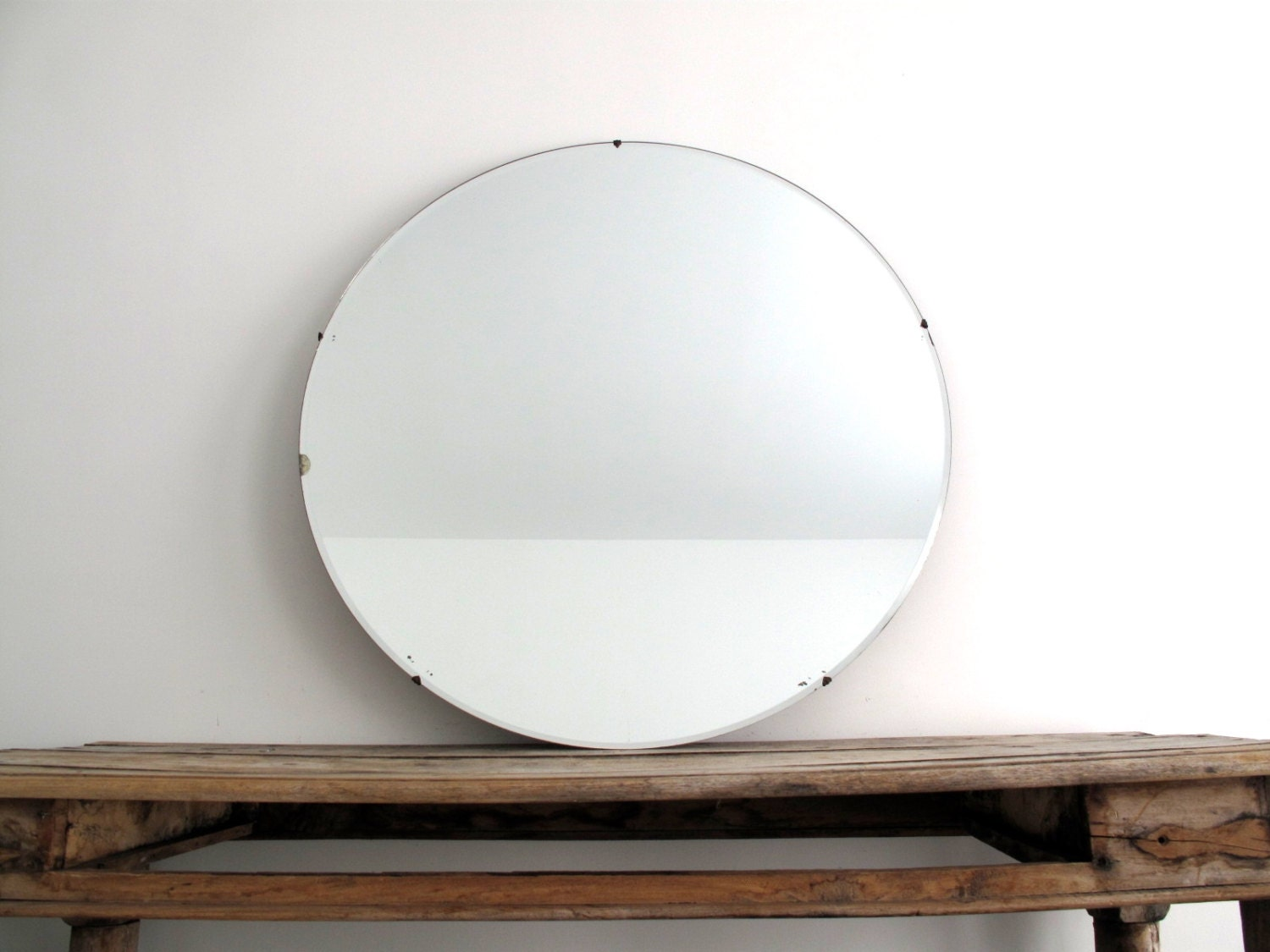 Vintage large round wall mirror 30 frameless by for Round mirror