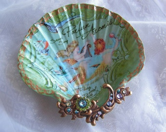 Jewelry Dish, French Mermaids Large Shell Jewelry Dish