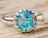 Genuine Australian Opal Ring,Mosaic Opal Triplet Ring,Sterling Silver Opal Ring,Round Silver Crown Bezel Setting,Gemstone Ring,Birthstone