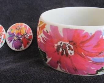 BEAUTIFUL pink orange FLOWER plastic BRACELET and earrings set