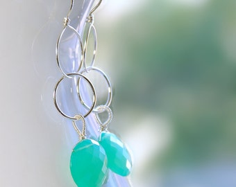 Chrysoprase Dangle by Agusha. Green Gemstone Dangle. Long Gemstone Earrings By Agusha