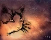 Cat Print, Cat of the Night, Fantasy