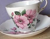 Vintage Regency English bone china tea cup and saucer, pink roses tea cup set, English tea cup, bone china tea set, pink roses tea set