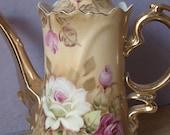 Vintage Lefton china brown heritage coffee pot, Japanese teapot, Hand painted teapot, Pink roses teapot, Porcelain teapot, antique teapot