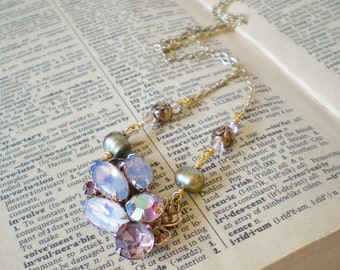 Lavender & Sage Green Rhinestones Collage Necklace