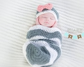 Newborn Chevron Hat and Sack / Cocoon Set, boy or girl, Made-to-Order photo prop