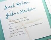 Starfish Wedding Invitation Quirky Beach Invite Pocketfold Casual Wedding Pocket Raffia Wrap Custom Wedding Invitation Teal Sandy Beige