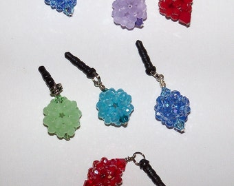 Cell phone charm plugs for earbuds iPhone iPod iPad beaded phone jewelry