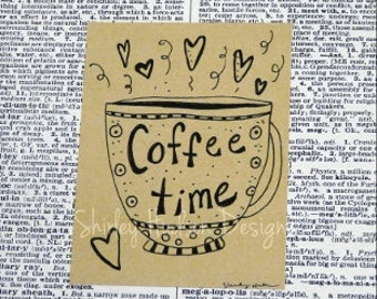 Original Coffee time drawing art - Little SWEETIES  latte espresso cup brown paper signed book page ooak