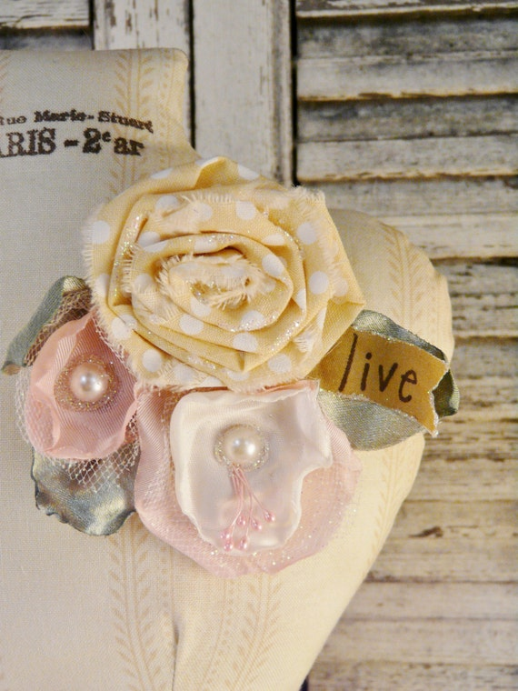 LIVE pin brooch flowers - ROSE pink beige banner art satin silk fabric jewelry fun wearable word handmade gift