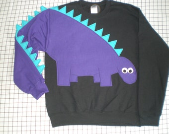 Dinosaur sweatshirt, Dinosaur shirt with spikey tail sleeve, Adult sweatshirt, Adult sizes, your choice of color and size.