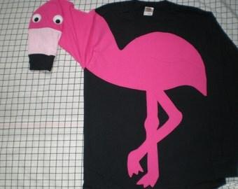 Flamingo shirt, long sleeve flamingo t-shirt. Small, medum, large and XLarge. Adult sizes. Black shirt. cosplay, bird shirt, puppet sleeve..