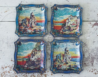 Set of 4 Small Snack Trays with Portuguese Coastal Village Illustration