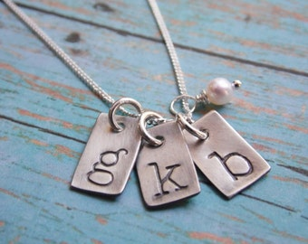 Rustic Monogram Necklace with Three Hand Stamped Sterling Silver Tags Initial Mother Necklace