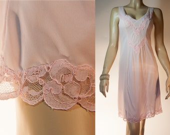 Italian silky soft and glossy sugar pink nylon and matching attractive applique lace detail 1970's vintage full slip petticoat - 2912
