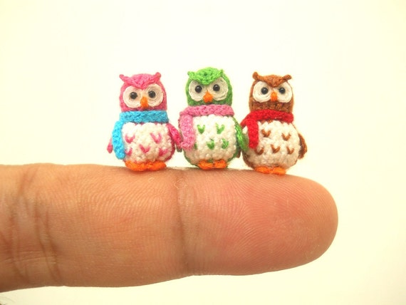 Three Micro Mini Owls - Tiny Amigurumi Crochet Miniature Owl Plush - Made To Order