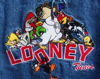 Official Looney Tunes embroidered denim Jacket childs 90's bluejean