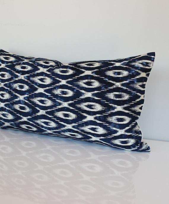 Blue Lumbar Throw Pillow : Lumbar Pillow Cover Blue Pillow Ikat Decorative by couchdwellers
