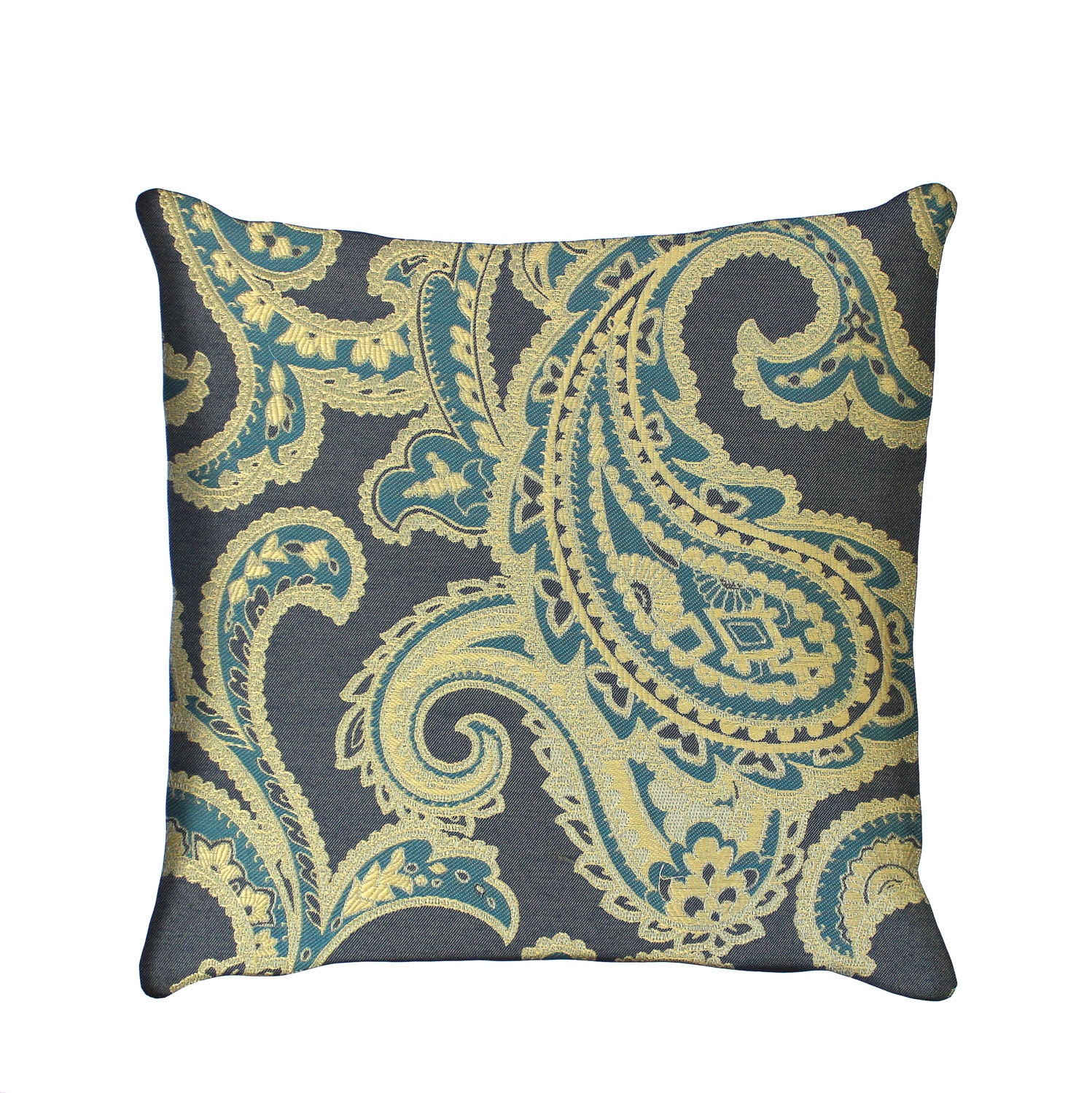 Fabric For Throw Pillow Covers : Blue Pillow Cover Paisley Upholstery Fabric Decorative Pillow