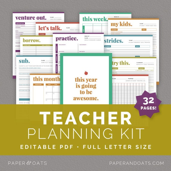 teacher planning kit editable classroom planner by