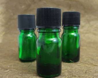 5 empty glass Green Essential oil Euro dropper bottle 5ml / 0.17 oz