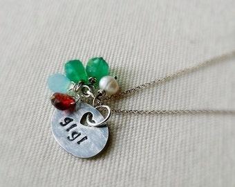 Gigi necklace - custom fine silver charm necklace with 5 birthstones