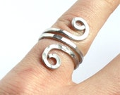 Adjustable Silver Ring - Hammered Texture Aluminum Wire Wrapped Double Swirl - Comfortable Multi Size Ring