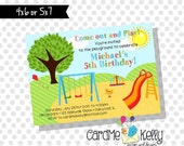 Printable End of the school year Summer Picnic Park Birthday Party Invitation - Digital File