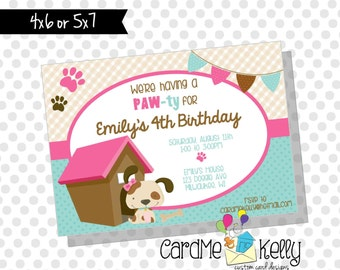 Printable Pink or Red Dog Doggie Puppy Doghouse Birthday Party Invitation - Digital File