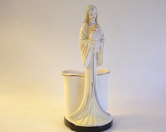 Vintage Madonna & Child Ceramic Planter- Japan