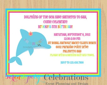 12 Printed Invitations By Serendipity Celebrations -Dolphin -Birthday -Baby Shower -Printing Service