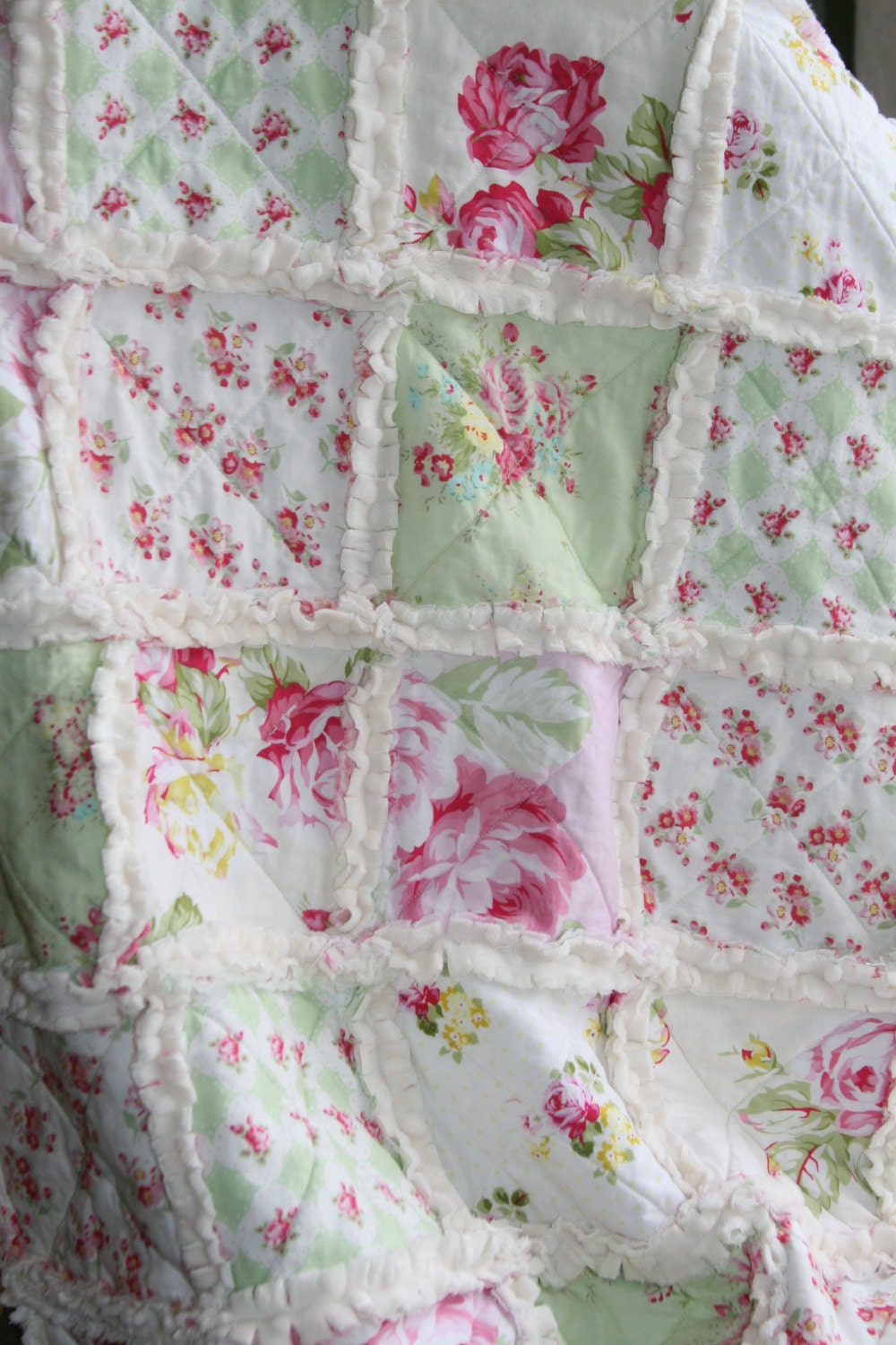 Shabby Chic Rag Quilt Baby Girl Minky Rag Quilt Pink Green