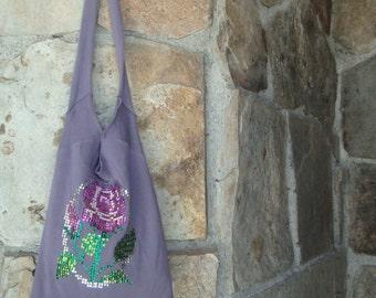 SEQUIN FLOWER BAG slouchy fleece remade sweatshirt purse tote