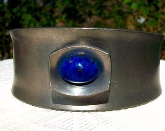Denmark Jorgen Jensen Signed Lapis Lazuli Cuff Pewter Bracelet Art Piece