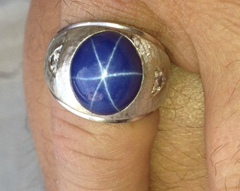 Fire Sale RARE Star Sapphire 6 Sided and Gorgeous Large Antique 14k Mens ring with 2 diamonds