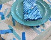 Placemats - Modern Lines Design Placemats - Set of Four - Reversible - Blue, Turquoise, Beige and White
