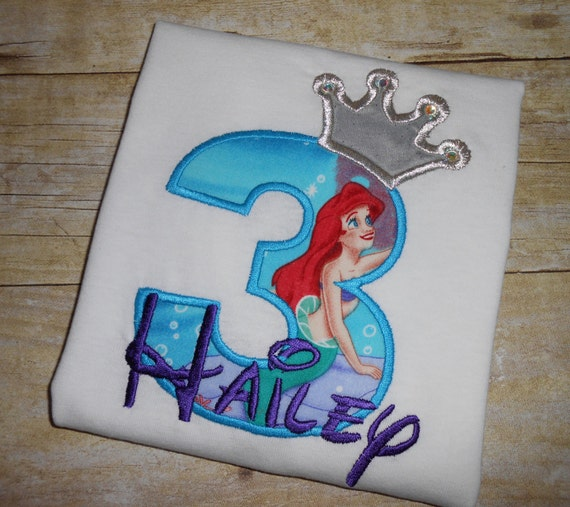 Design your own Birthday Number Princess Ariel - Little Mermaid character with crown and crystals applique t-shirt  - Personalized free