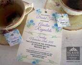 Blue Floral Bridal Tea invitations. High Tea traditional tea bag invitation printable.