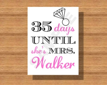 Bridal Shower Countdown Till Wedding Sign