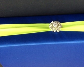 Custom Made Royal Blue with Lime Green  Satin  Accent  Cake Stand 20x 20 Wood
